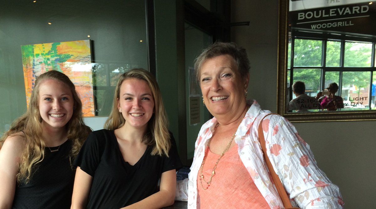 Senior Experience coordinator Mrs. Sandy Munnell visits 2016 Graduates Lydia Cawley and Morgan Romero at their job at the Boulevard Grille last year. Service jobs like Romero and Cawley's are the most popular route for seniors during the four weeks leading up to graduation.