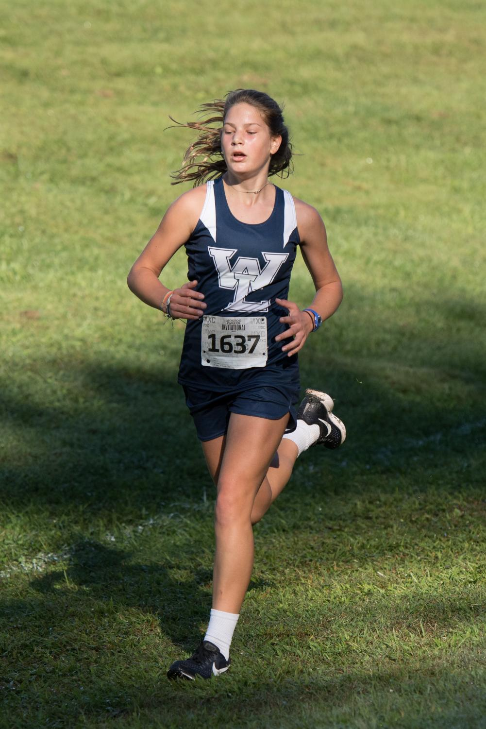 Freshman Anna Erskine participating in Girls' Cross Country
