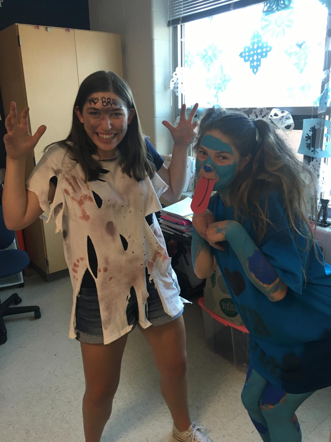 Freshmen Anna Erskine and Caroline Gage dress up for tennis and lacrosse.