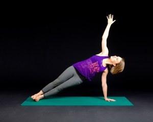 Woman side planking