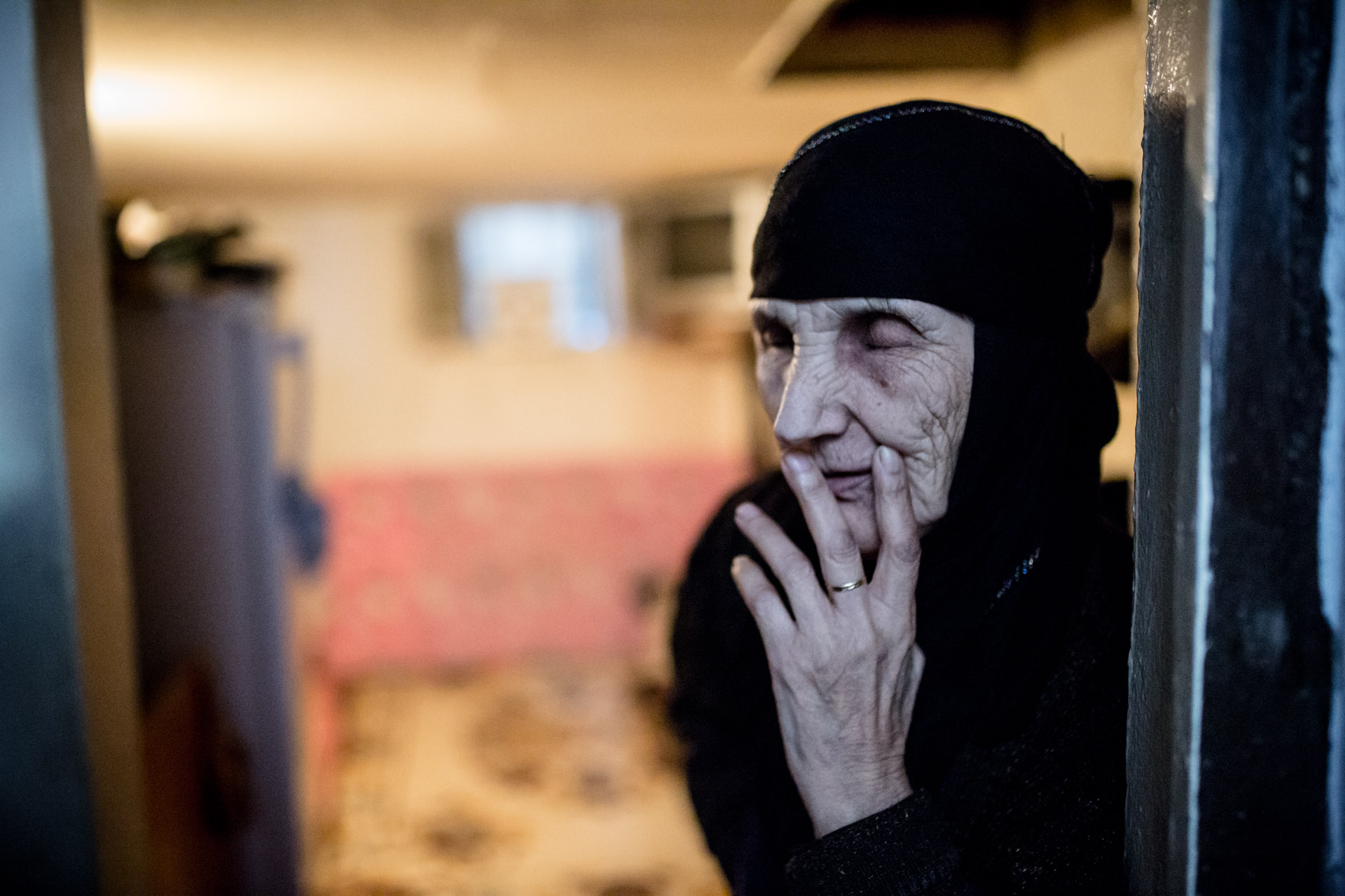 Mehdian was born in Palestine and came to Lebanon with her parents in 1948, fleeing the Arab-Israeli war. She never went to school and doesn't remember her age. She lives with her 40 year old daughter in a one bedroom basement.