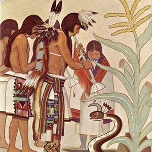 Fred Kabotie painting of Hopi flute dancers in deep attention to the Water Serpent to bring rain to their arid high desert so the corn will grow.