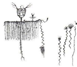prehistoric rock art dragonfly shaman