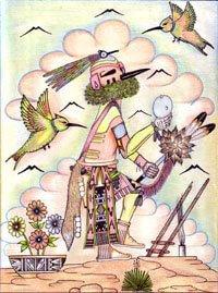 Hopi drawing of hummingbird katsina visiting a kiva (ceremonial chamber) in a village.