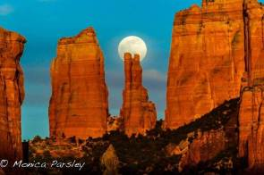 Full Moon over Cathedral Rock by Monica Parsley