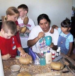 Making rattles with Hopi artist (photo by Sandra Cosentino)