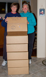 packing up boxes for individual children photo by Jackie Klieger