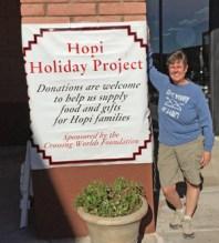 Donation table in Sedona, December--we really appreciate the many Sedona area people who shopped for our Hopi neighbors. photo by Sandra Cosentino