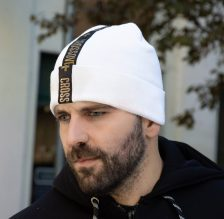 Beanie Hat Gold Letters White