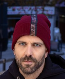 Beanie Hat Rose Gold Letters Burgundy