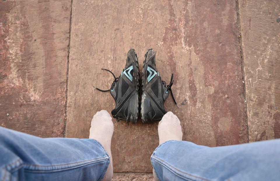 Keep your shoes folded at Jama Masjid