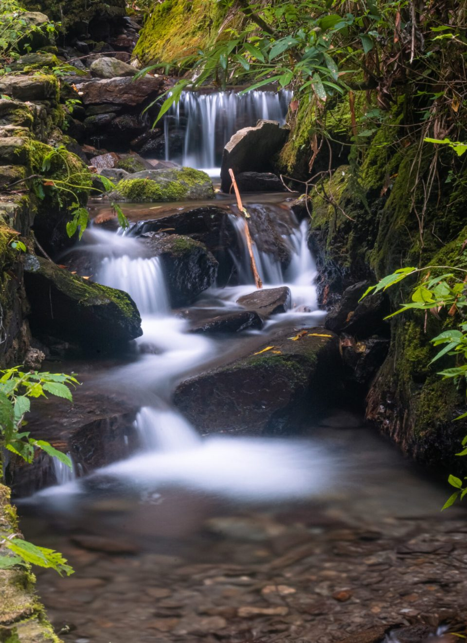 The Stream of the water flowing just near the waterfall - Long exposure shots