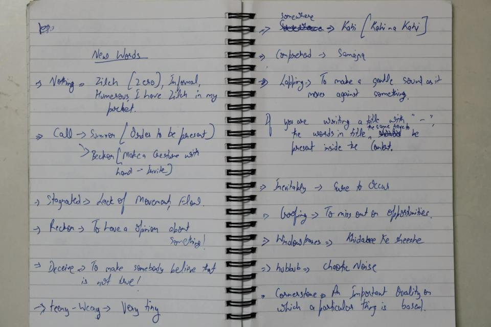 I jot down the unusual words to use them in the blog posts or either in conversations.