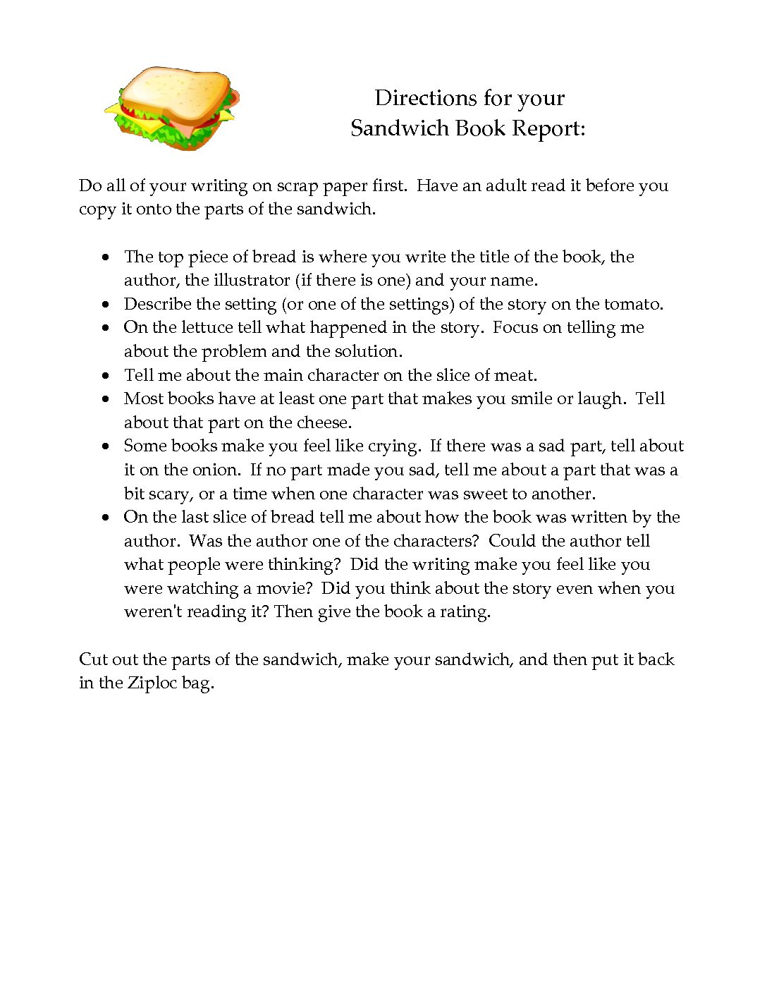 Sandwich Book Report Directions