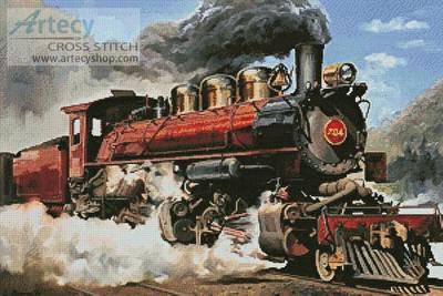 Locomotive Cross Stitch Pattern vehicles