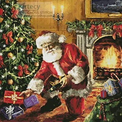 Presents Under The Tree Cross Stitch Pattern Santa