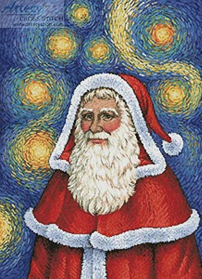 Van Gogh Santa Cross Stitch Pattern santa
