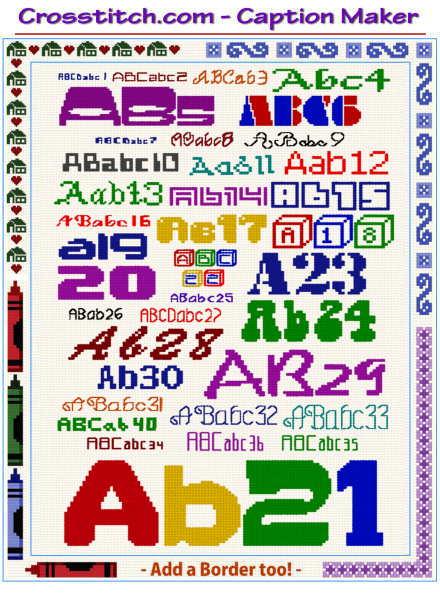 Cross Stitch Caption Maker Text Alphabet Border