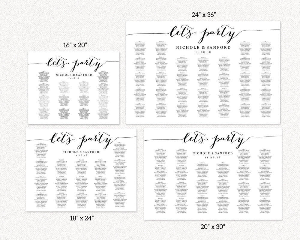 Dinner Table Seating Chart Template For 4