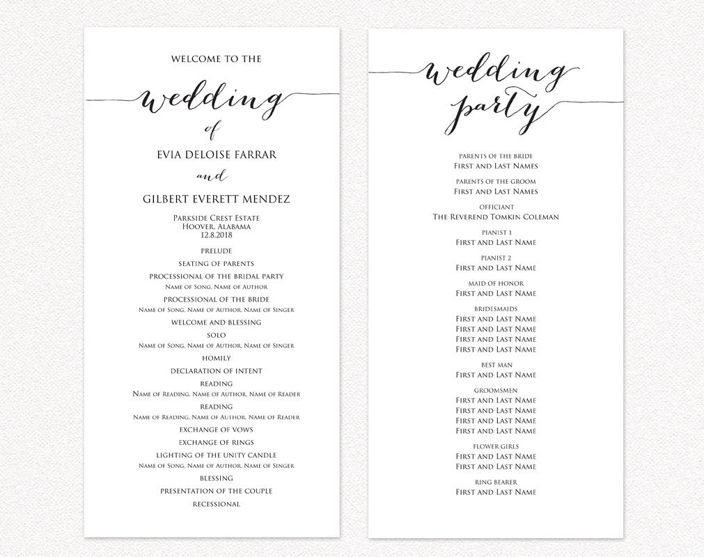 Wedding Ceremony Program Templates  Wedding Templates and Printables