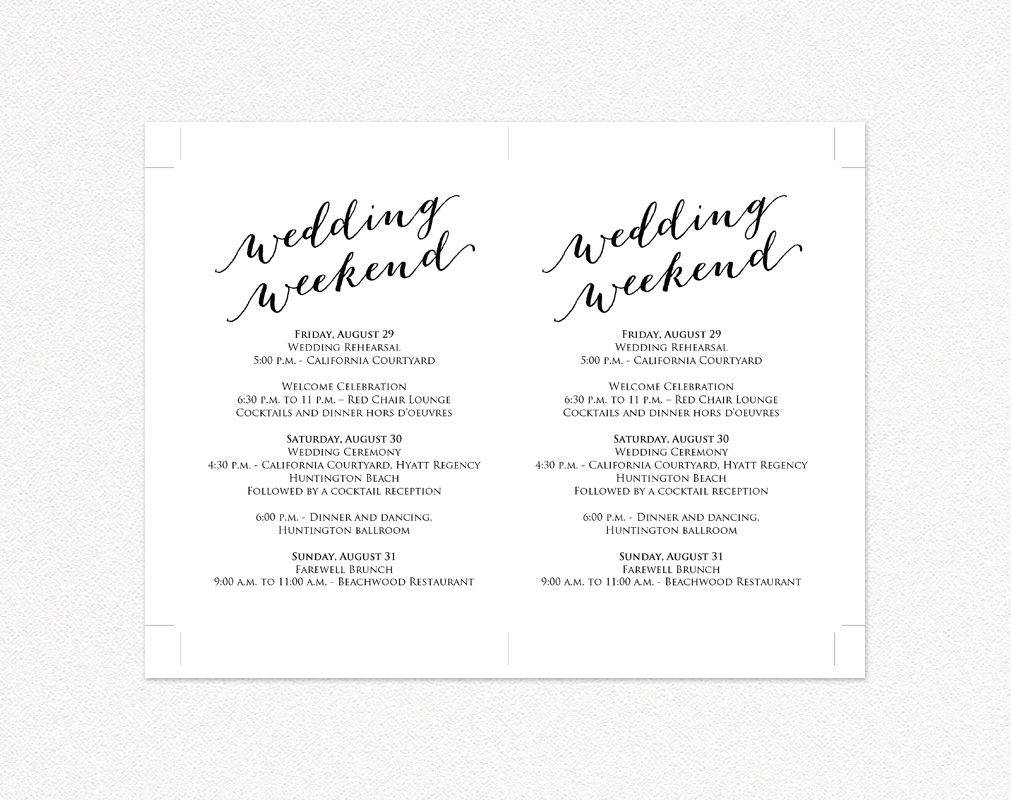 Top Wedding Weekend Itinerary Cards @KW33