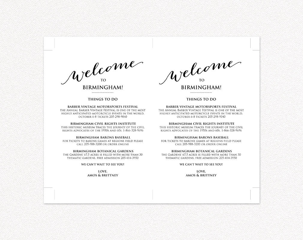 Wedding Weekend Itinerary · Wedding Templates and Printables