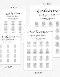 Alphabetical seating chart wedding also template rh crossvinedesigns
