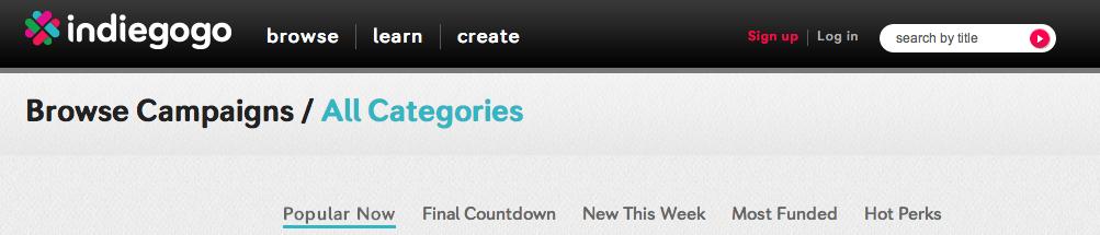 indiegogo popular now