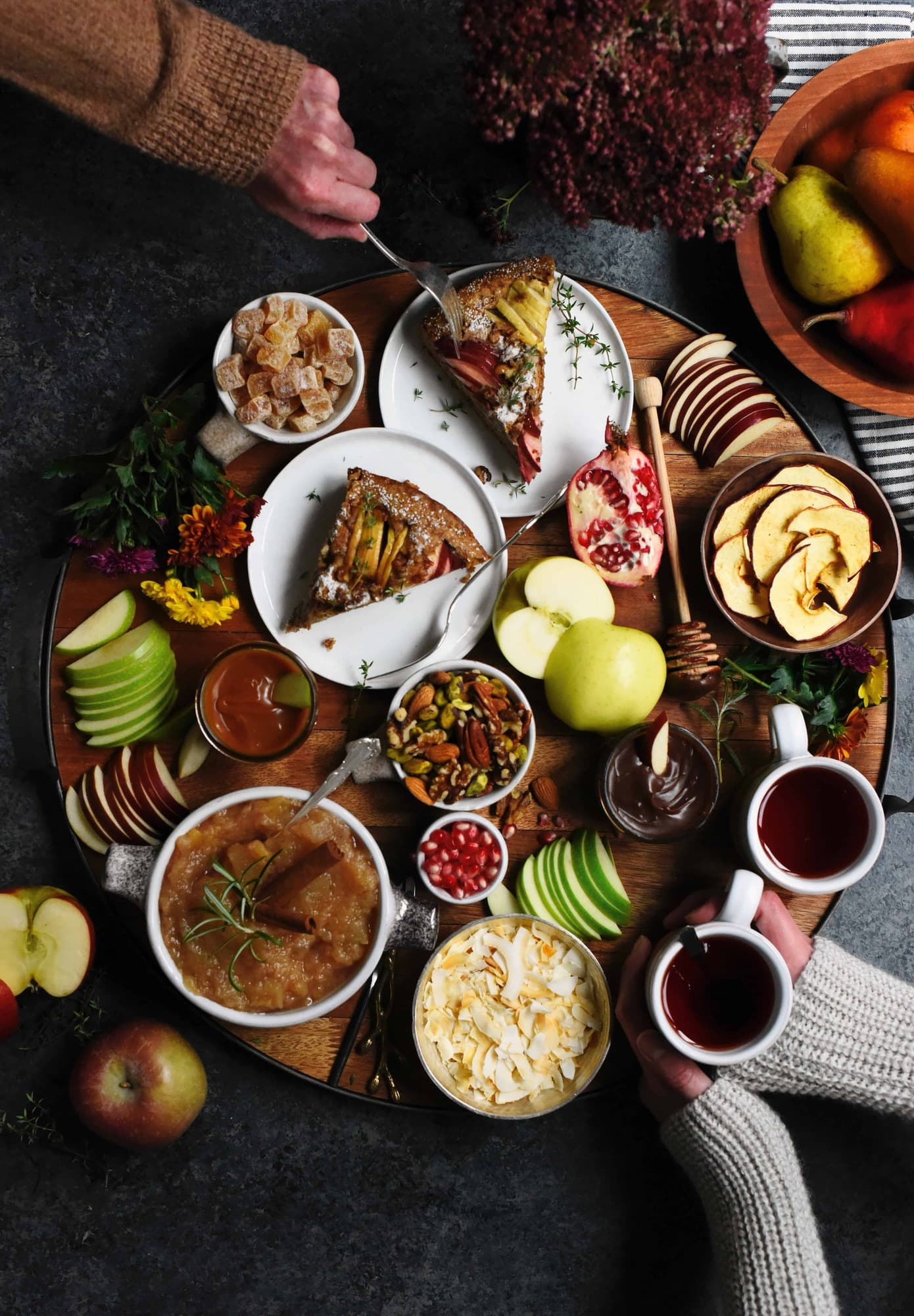 Overhead of circular tray with fall foods