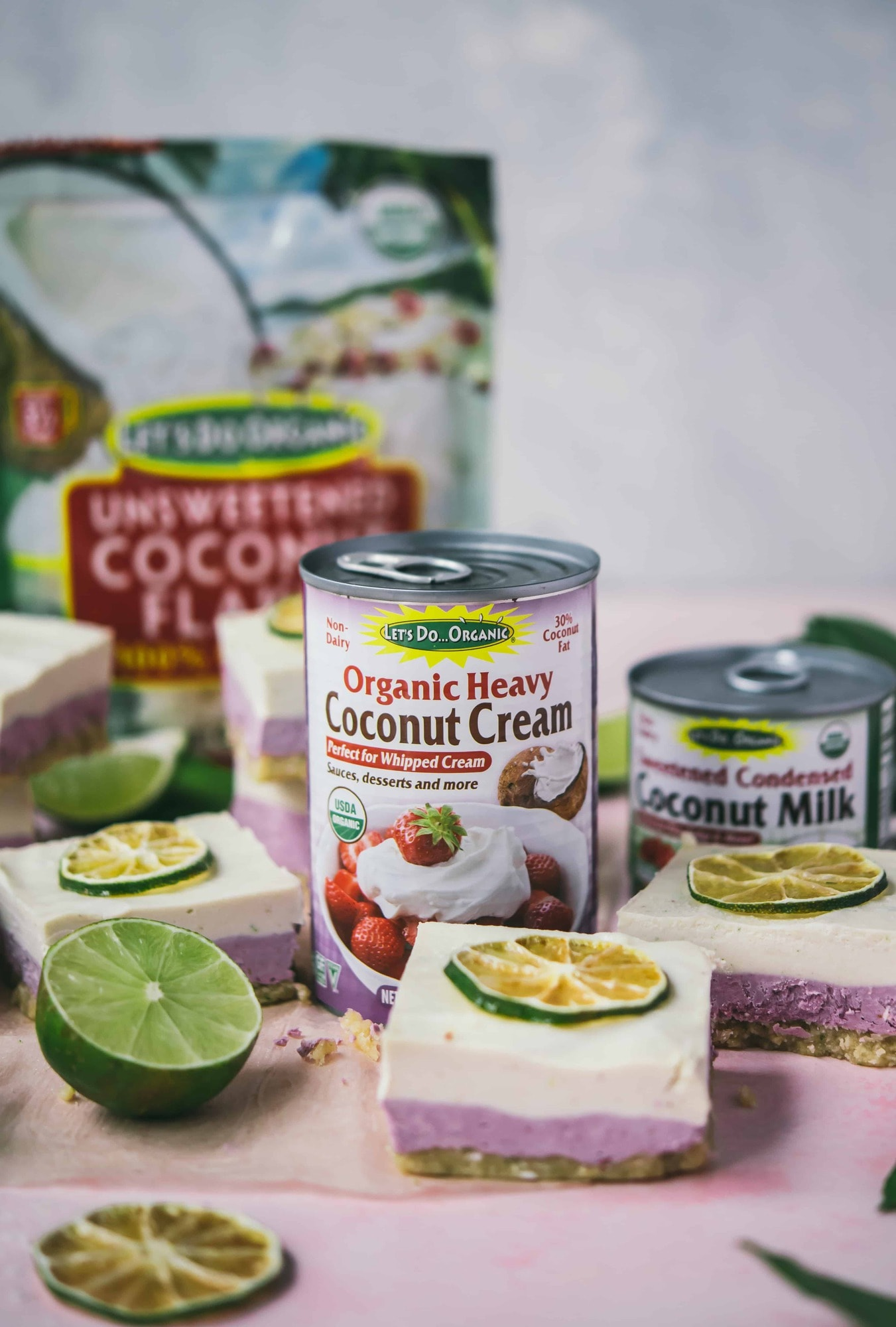 Let's Do Organic Heavy Coconut Cream next to a coconut lime cheesecake bar