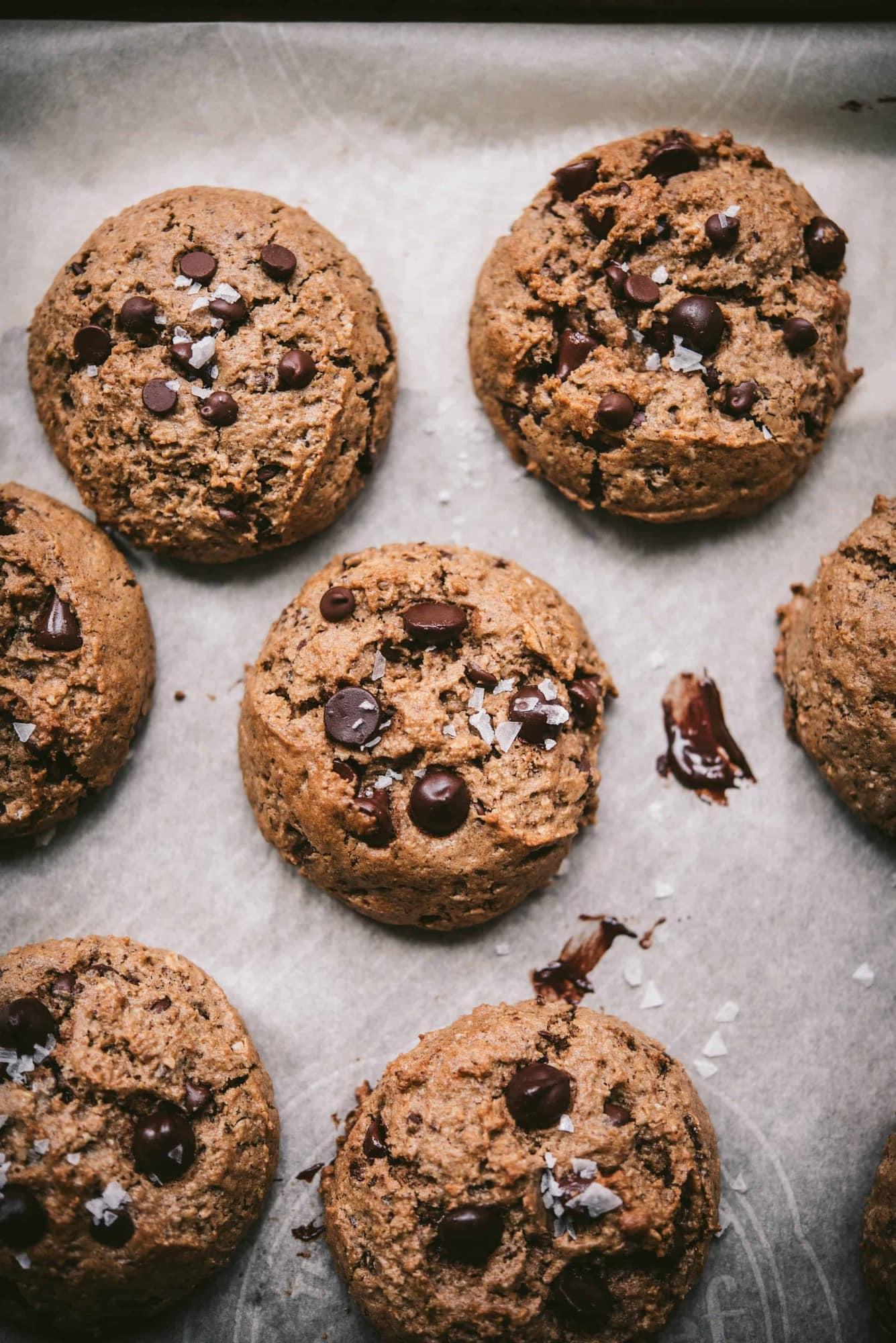 Overhead of vegan gluten free chocolate chip oatmeal cookies