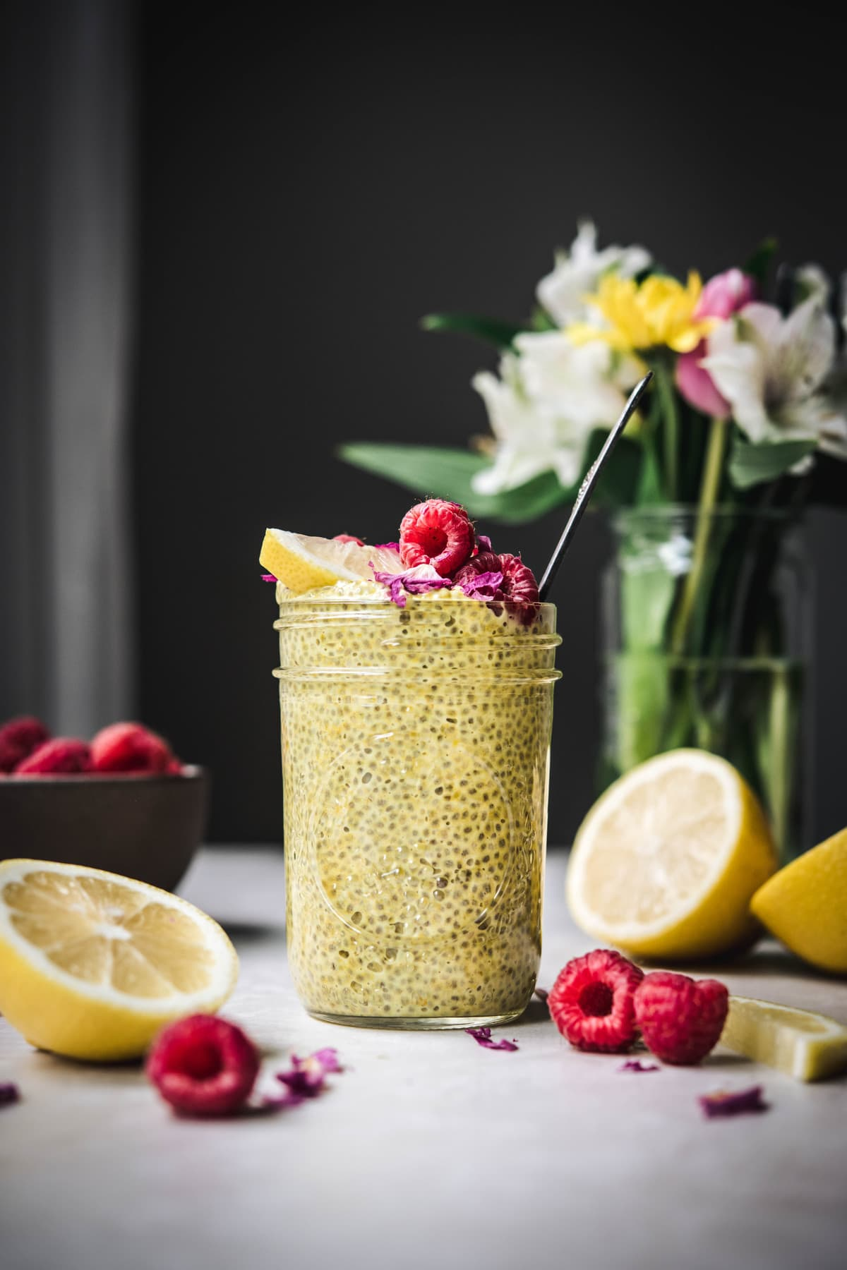 side view of lemon chia pudding in jar