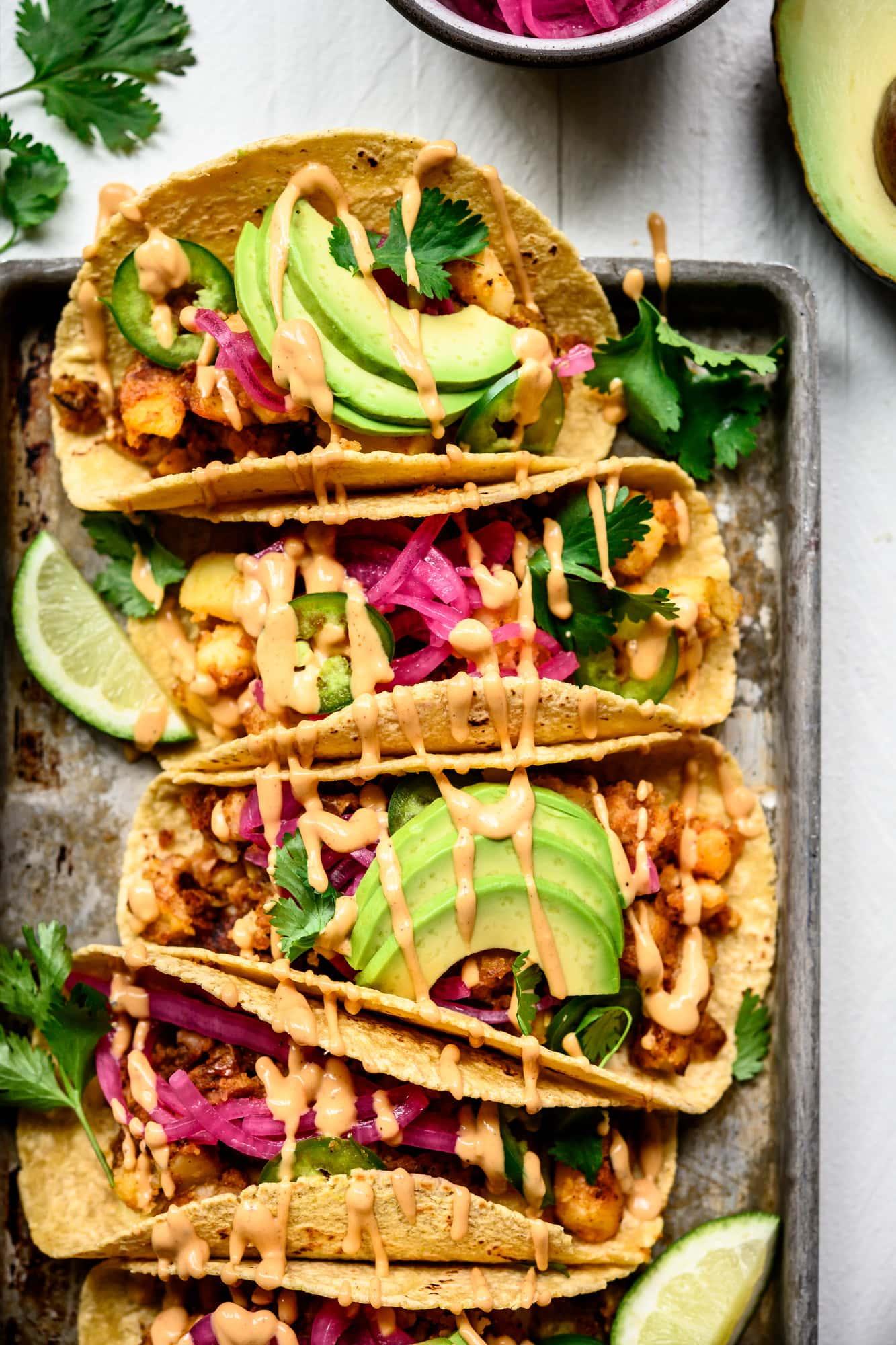 overhead view of vegan breakfast potato tacos