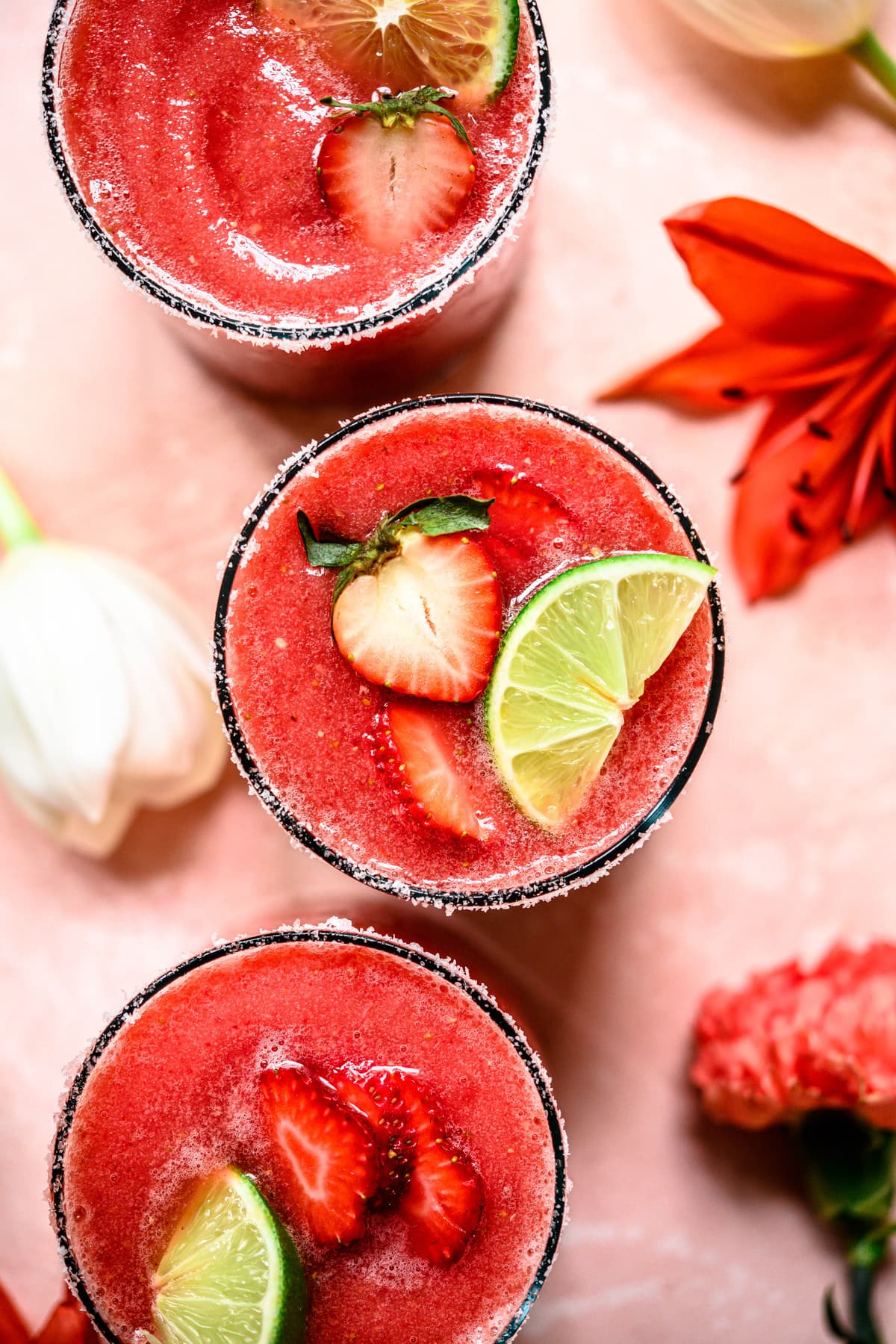 overhead view of frozen watermelon margaritas