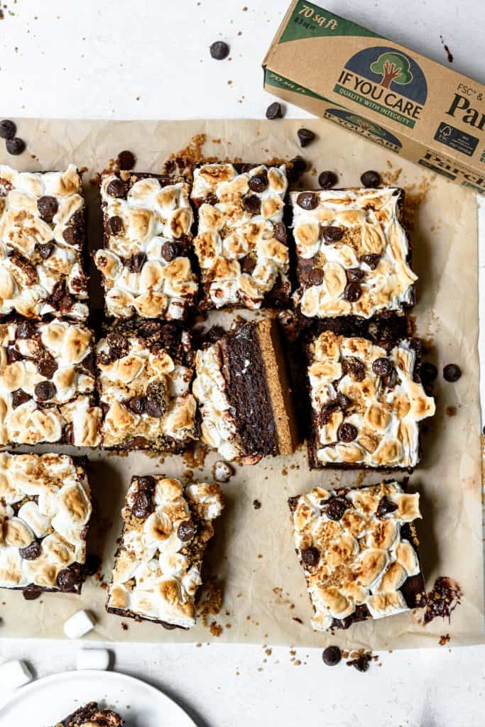 Overhead view of vegan and gluten free s'mores brownies on parchment paper