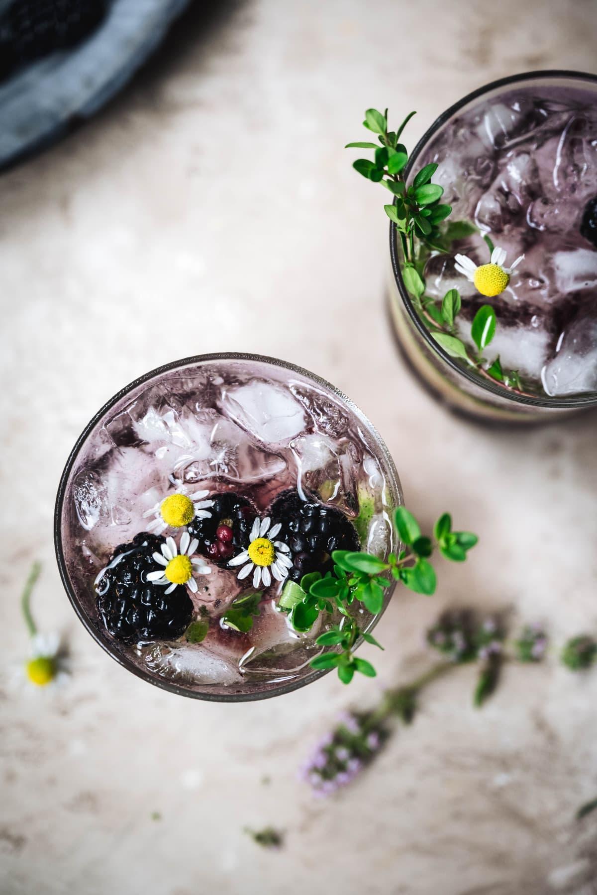 ovehread of blackberry cucumber cocktails