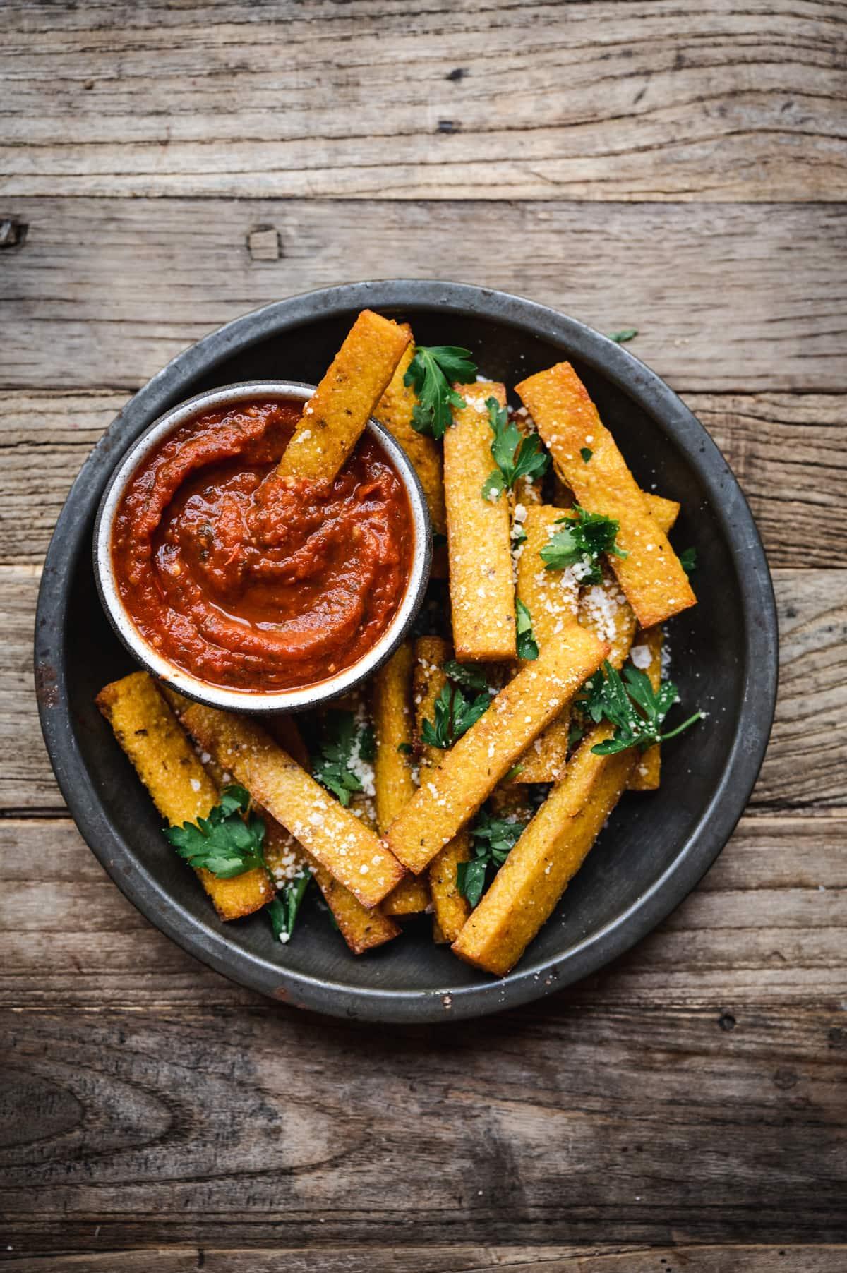 Polenta Fries With Marinara Dipping Sauce Vegan Crowded Kitchen