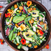 overhead view of summer dinner salad