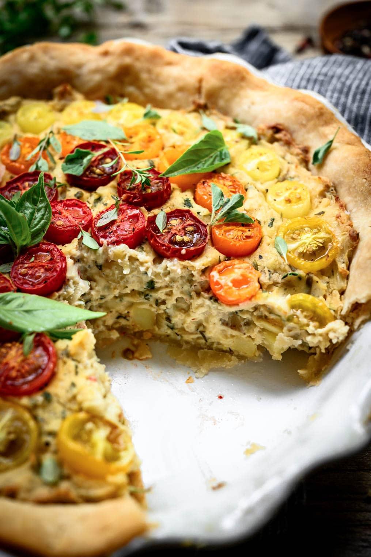 side view of vegan tomato quiche interior