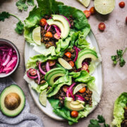 overhead view of vegan taco lettuce wraps on a platter