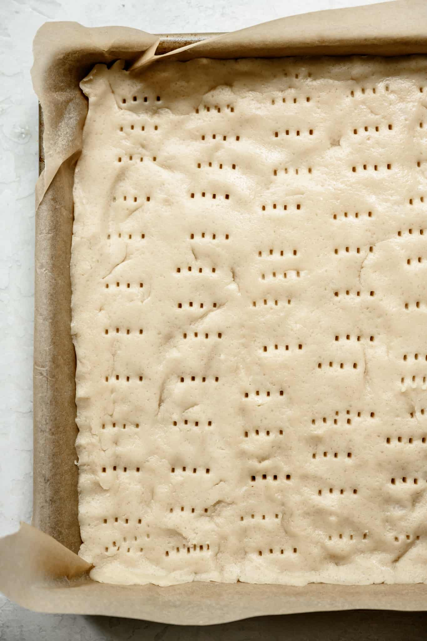 overhead view of gluten free shortbread before baking