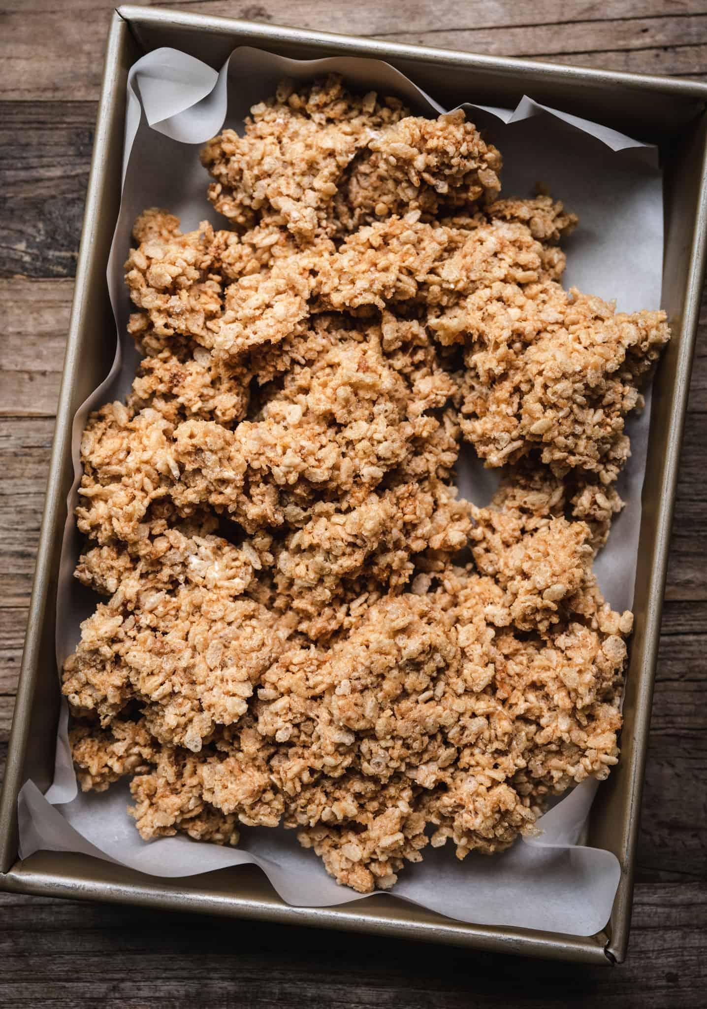 overhead of marshmallow rice krispy mixture for vegan rice krispy treats with peanut butter