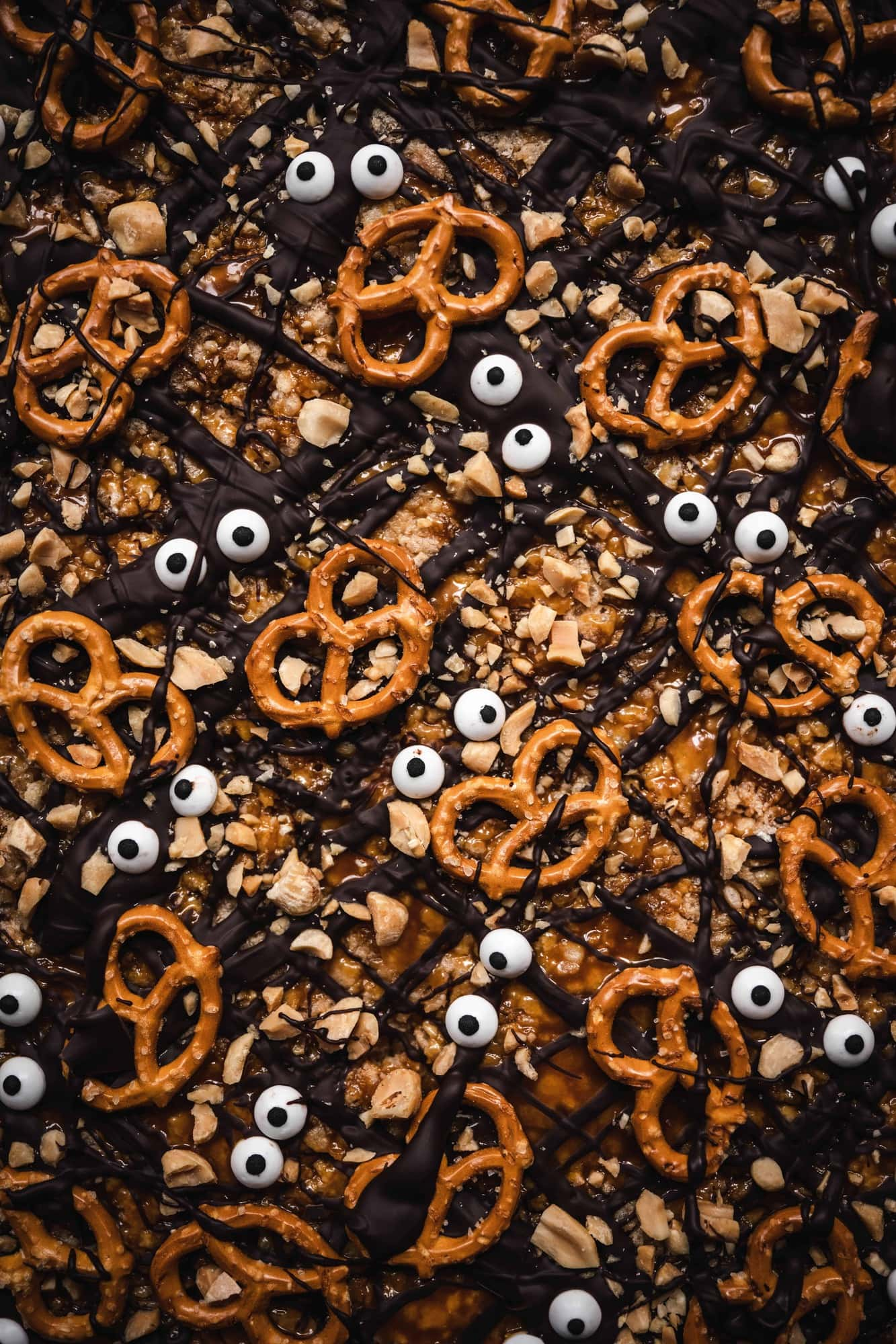 close up overhead of halloween chocolate peanut butter vegan rice krispie treats