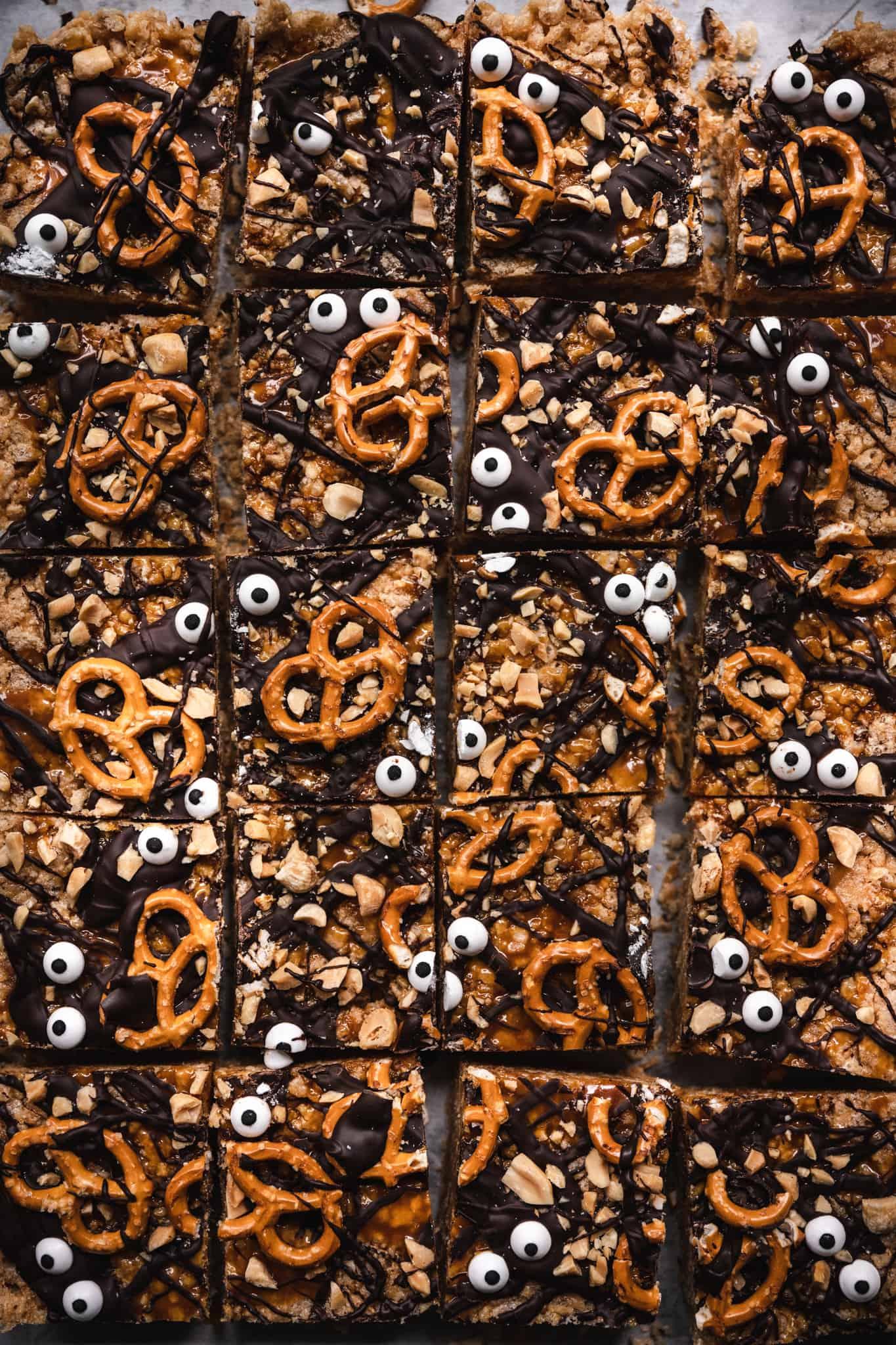 overhead of vegan peanutbutter rice krispy treats in a baking sheet