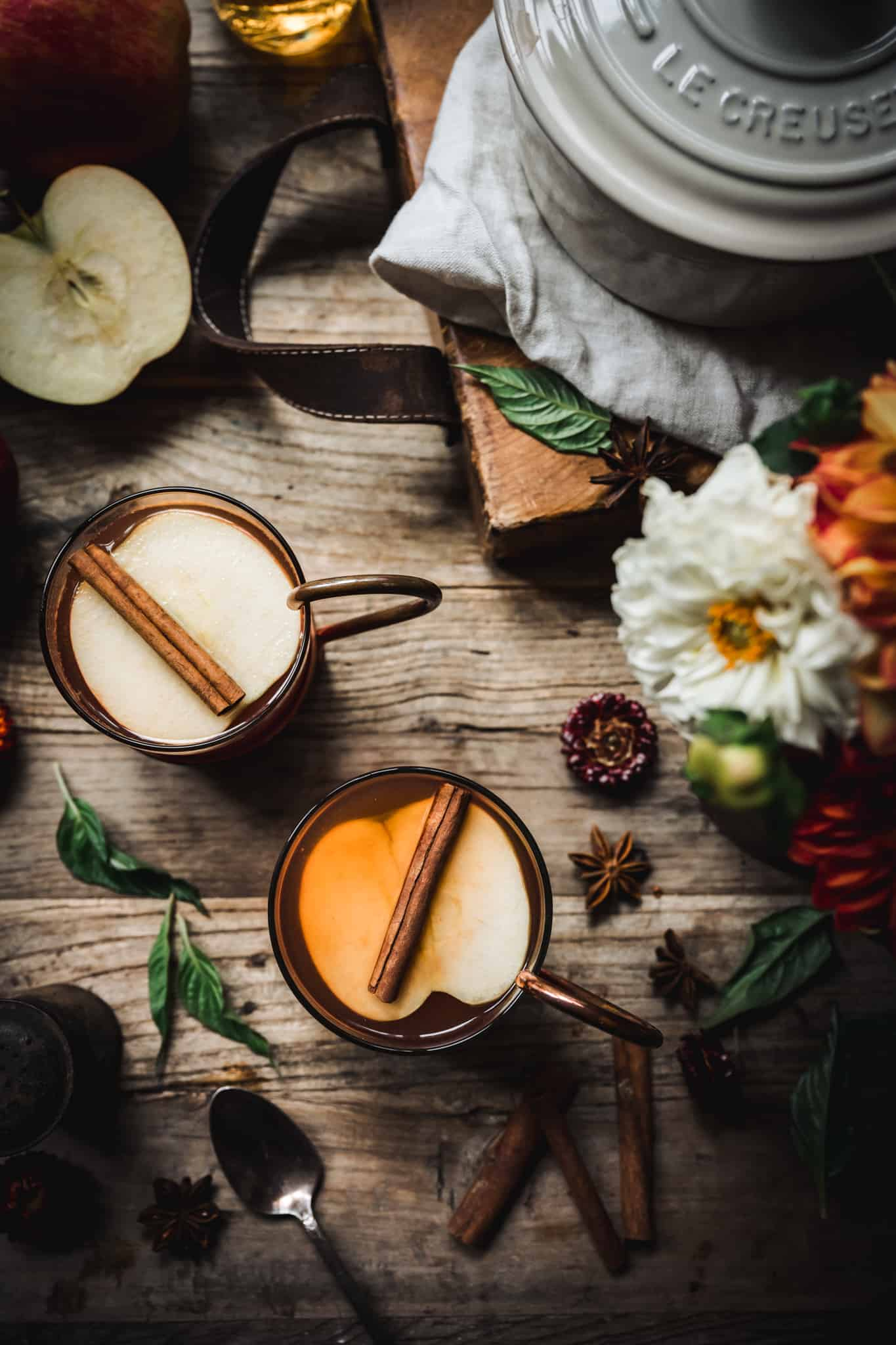 Overhead view of hot apple cider brandy cocktail