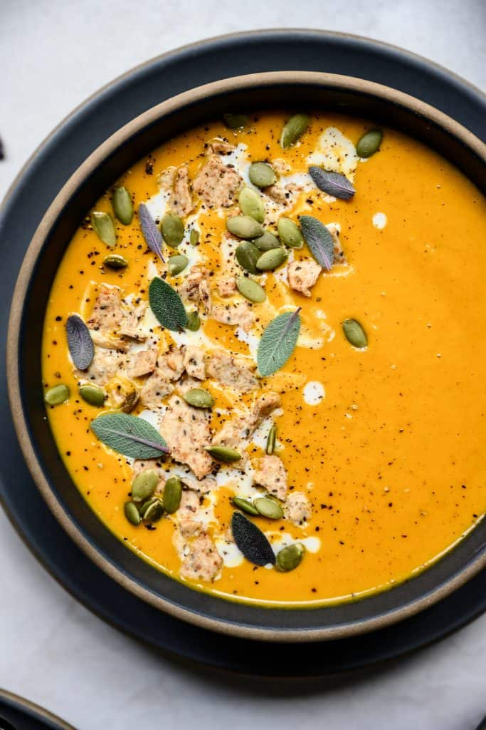 close up overhead of carrot apple ginger soup