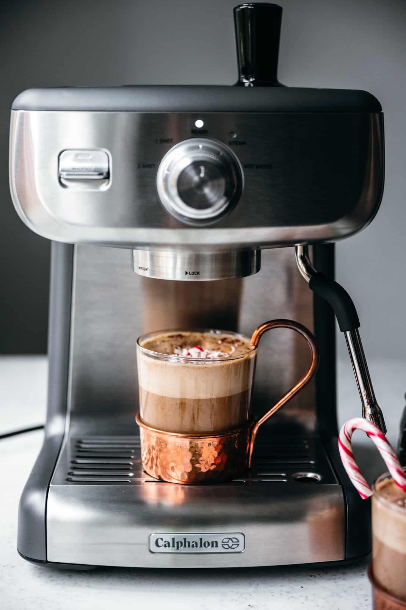close up view of Calphalon espresso machine with peppermint mocha