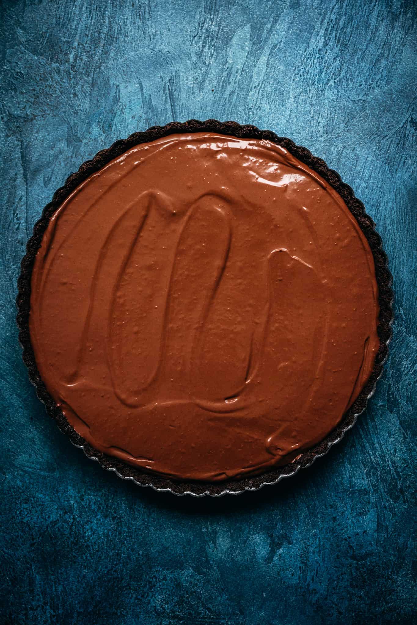 overhead view of chocolate tart