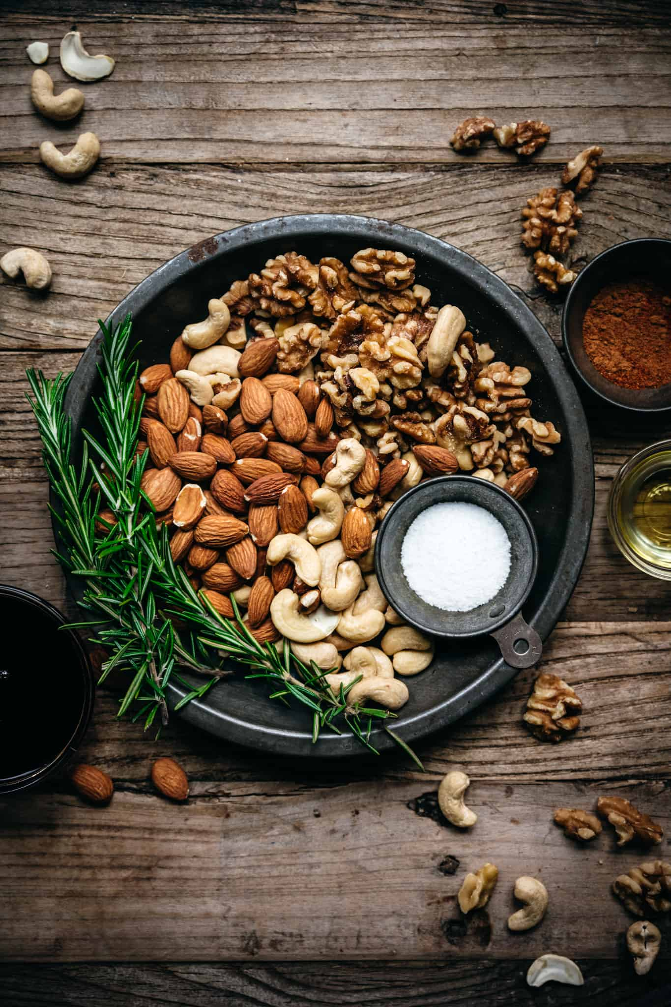 overhead of raw nuts before they're cooked for vegan spiced nuts