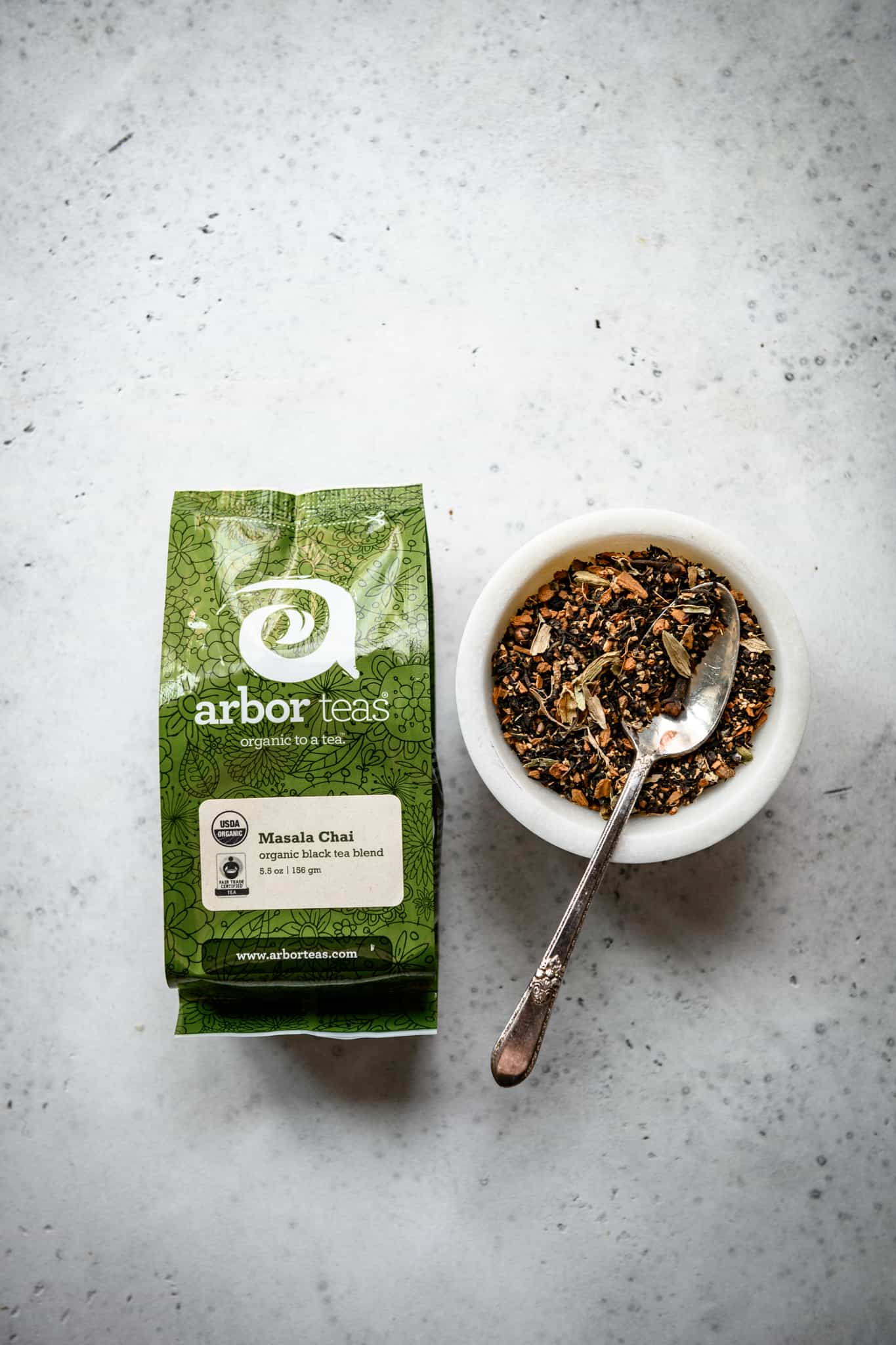 overhead view of Arbor Teas Masala Chai Tea in bag